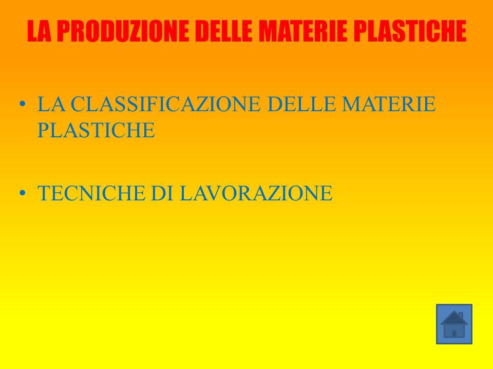 LA PRODUZIONE DELLE MATERIE PLASTICHE LA CLASSIFICAZIONE DELLE MATERIE PLASTICHE TECNICHE DI LAVORAZIONE