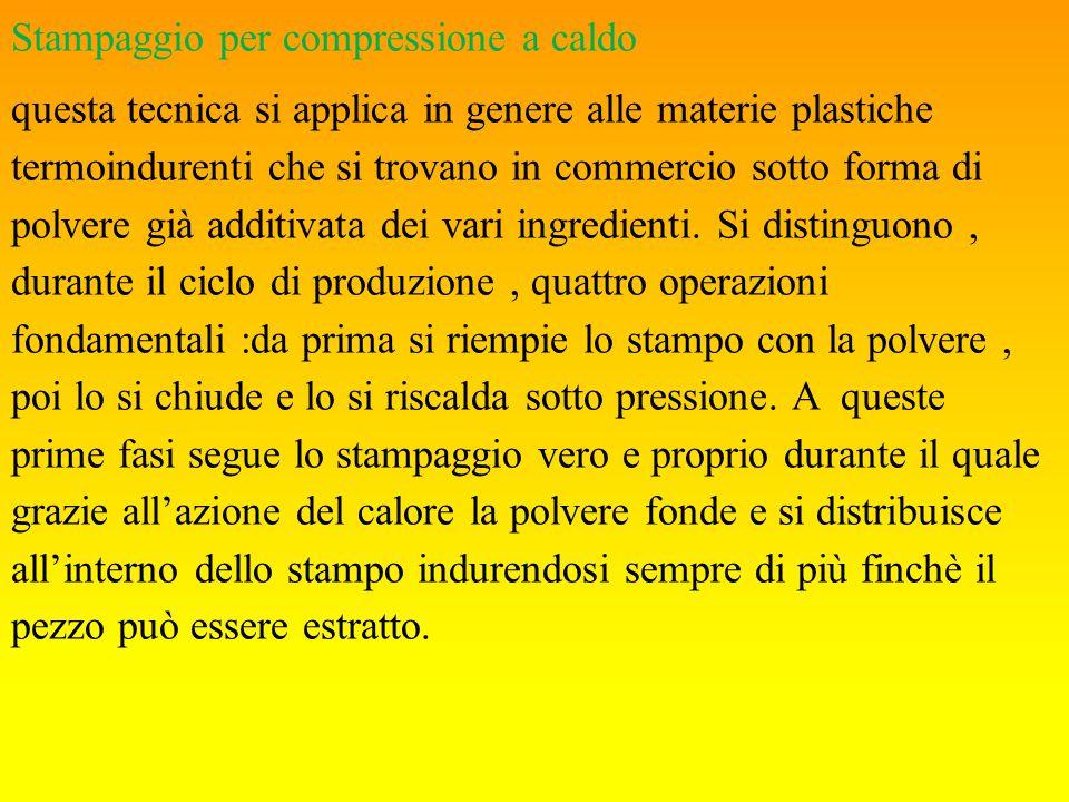 Stampaggio per compressione a caldo questa tecnica si applica in genere alle materie plastiche termoindurenti che si trovano in commercio sotto forma di polvere già additivata dei vari ingredienti.
