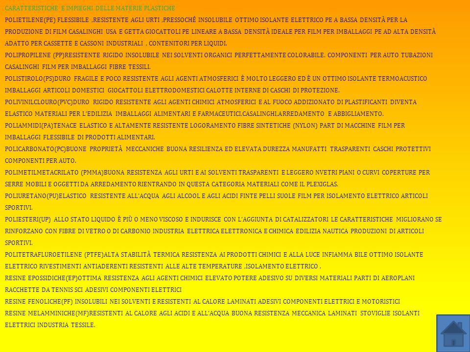 CARATTERISTICHE E IMPIEGHI DELLE MATERIE PLASTICHE POLIETILENE(PE) FLESSIBILE,RESISTENTE AGLI URTI,PRESSOCHÉ INSOLUBILE OTTIMO ISOLANTE ELETTRICO PE A BASSA DENSITÀ PER LA PRODUZIONE DI FILM CASALINGHI USA E GETTA GIOCATTOLI PE LINEARE A BASSA DENSITÀ IDEALE PER FILM PER IMBALLAGGI PE AD ALTA DENSITÀ ADATTO PER CASSETTE E CASSONI INDUSTRIALI, CONTENITORI PER LIQUIDI.