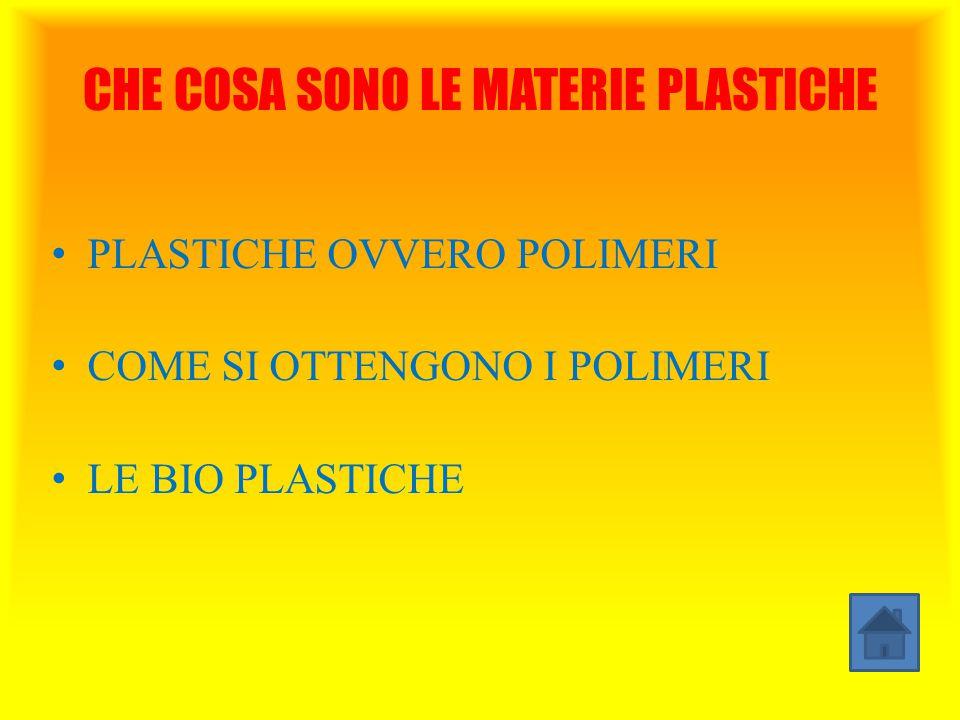 CHE COSA SONO LE MATERIE PLASTICHE PLASTICHE OVVERO POLIMERI COME SI OTTENGONO I POLIMERI LE BIO PLASTICHE