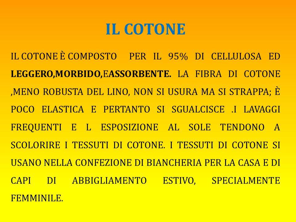 IL COTONE IL COTONE È COMPOSTO PER IL 95% DI CELLULOSA ED LEGGERO,MORBIDO,EASSORBENTE.