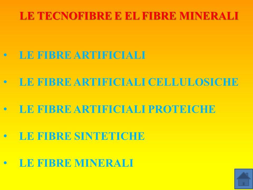 LE TECNOFIBRE E EL FIBRE MINERALI LE FIBRE ARTIFICIALI LE FIBRE ARTIFICIALI CELLULOSICHE LE FIBRE ARTIFICIALI PROTEICHE LE FIBRE SINTETICHE LE FIBRE MINERALI