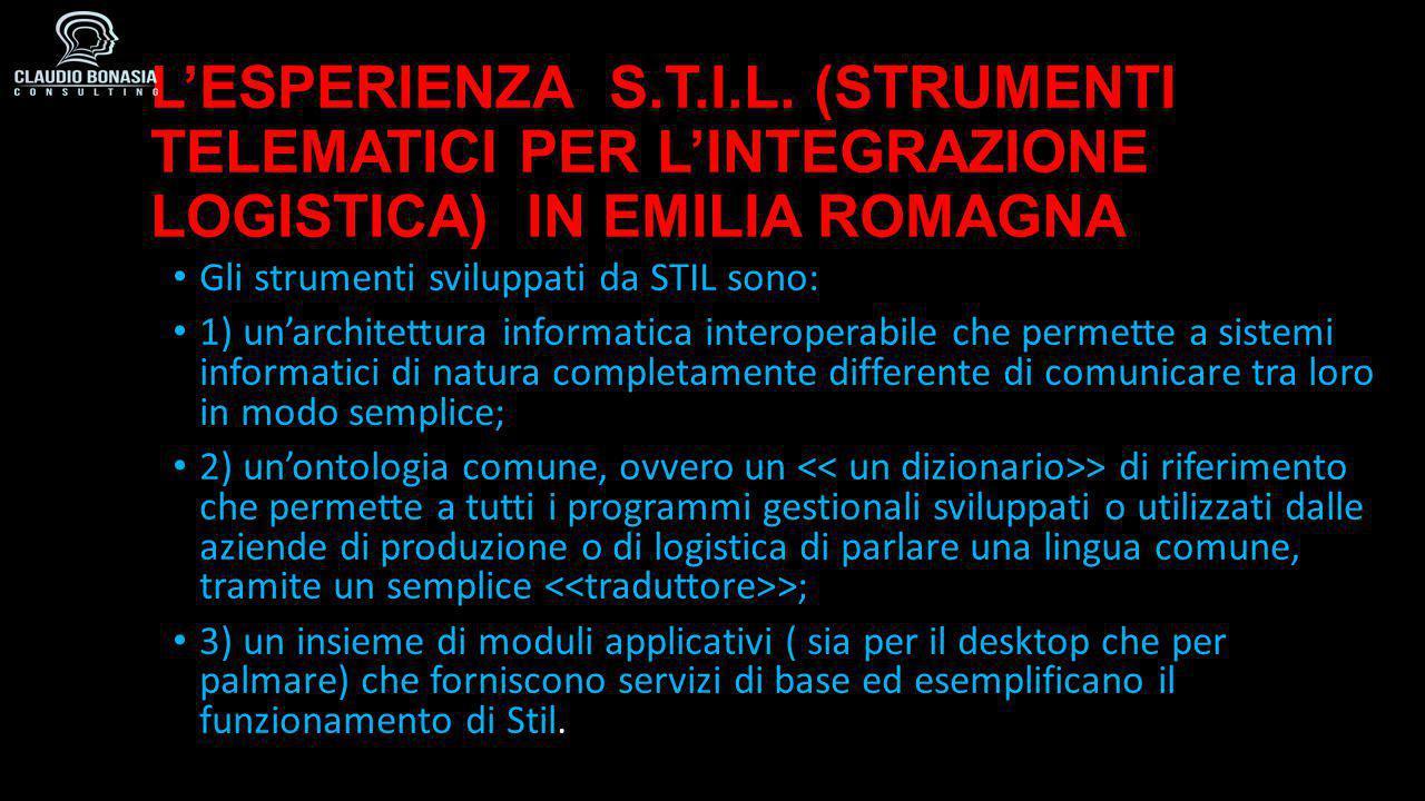 L'ESPERIENZA S.T.I.L. (STRUMENTI TELEMATICI PER L'INTEGRAZIONE LOGISTICA) IN EMILIA ROMAGNA Gli strumenti sviluppati da STIL sono: 1) un'architettura