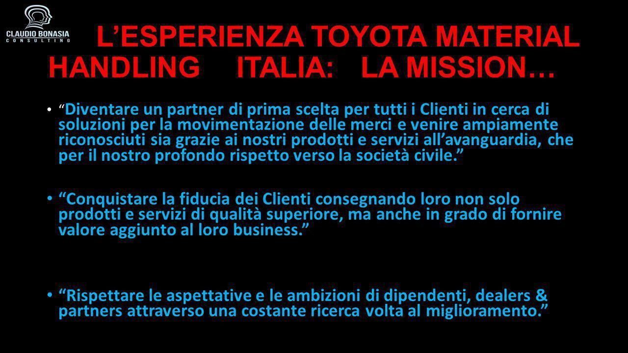 """L'ESPERIENZA TOYOTA MATERIAL HANDLING ITALIA: LA MISSION… L'ESPERIENZA TOYOTA MATERIAL HANDLING ITALIA: LA MISSION… """" Diventare un partner di prima sc"""