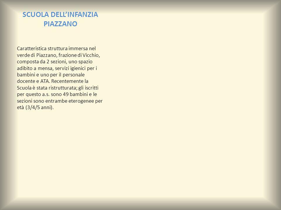 SCUOLA DELL'INFANZIA PIAZZANO Caratteristica struttura immersa nel verde di Piazzano, frazione di Vicchio, composta da 2 sezioni, uno spazio adibito a mensa, servizi igienici per i bambini e uno per il personale docente e ATA.