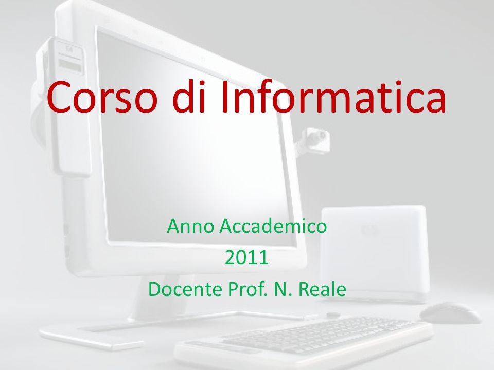 Corso di Informatica Anno Accademico 2011 Docente Prof. N. Reale