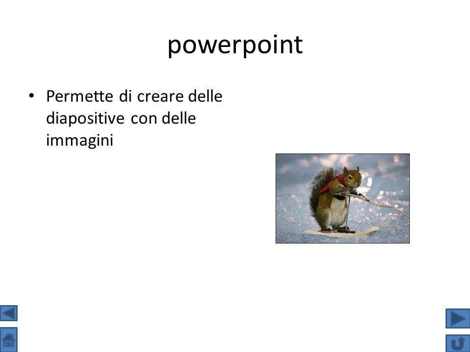 powerpoint Permette di creare delle diapositive con delle immagini