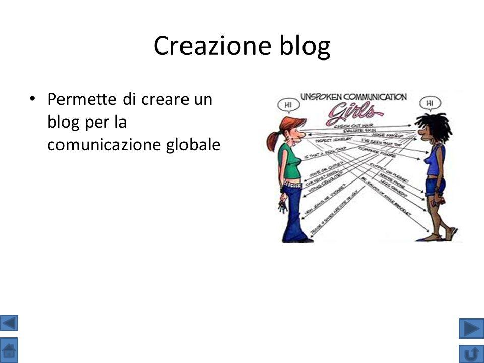 Creazione blog Permette di creare un blog per la comunicazione globale