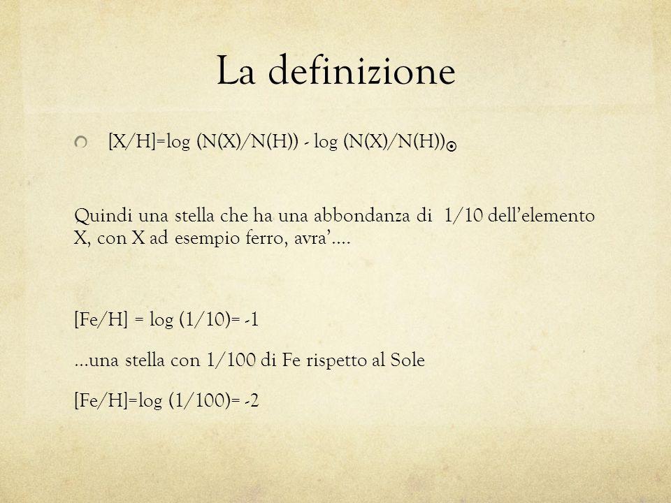 La definizione [X/H]=log (N(X)/N(H)) - log (N(X)/N(H))  Quindi una stella che ha una abbondanza di 1/10 dell'elemento X, con X ad esempio ferro, avra'….