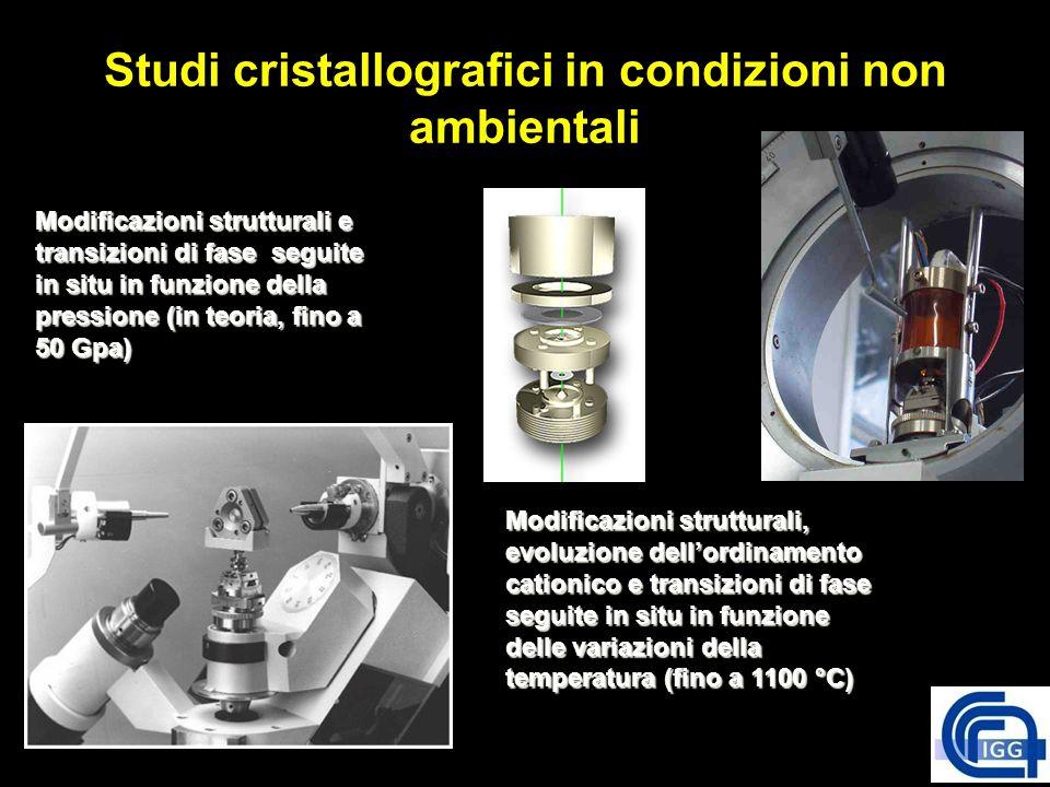 Studi cristallografici in condizioni non ambientali Modificazioni strutturali e transizioni di fase seguite in situ in funzione della pressione (in te