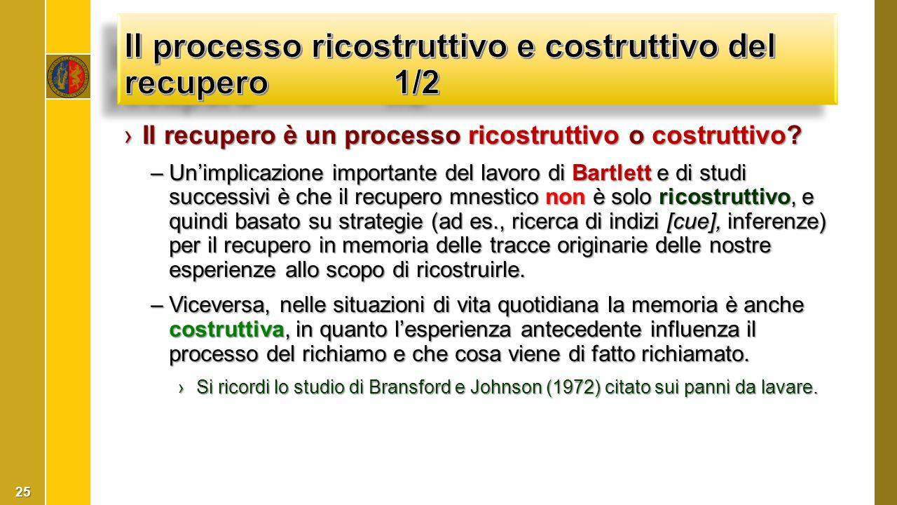 ›Il recupero è un processo ricostruttivo o costruttivo? –Un'implicazione importante del lavoro di Bartlett e di studi successivi è che il recupero mne