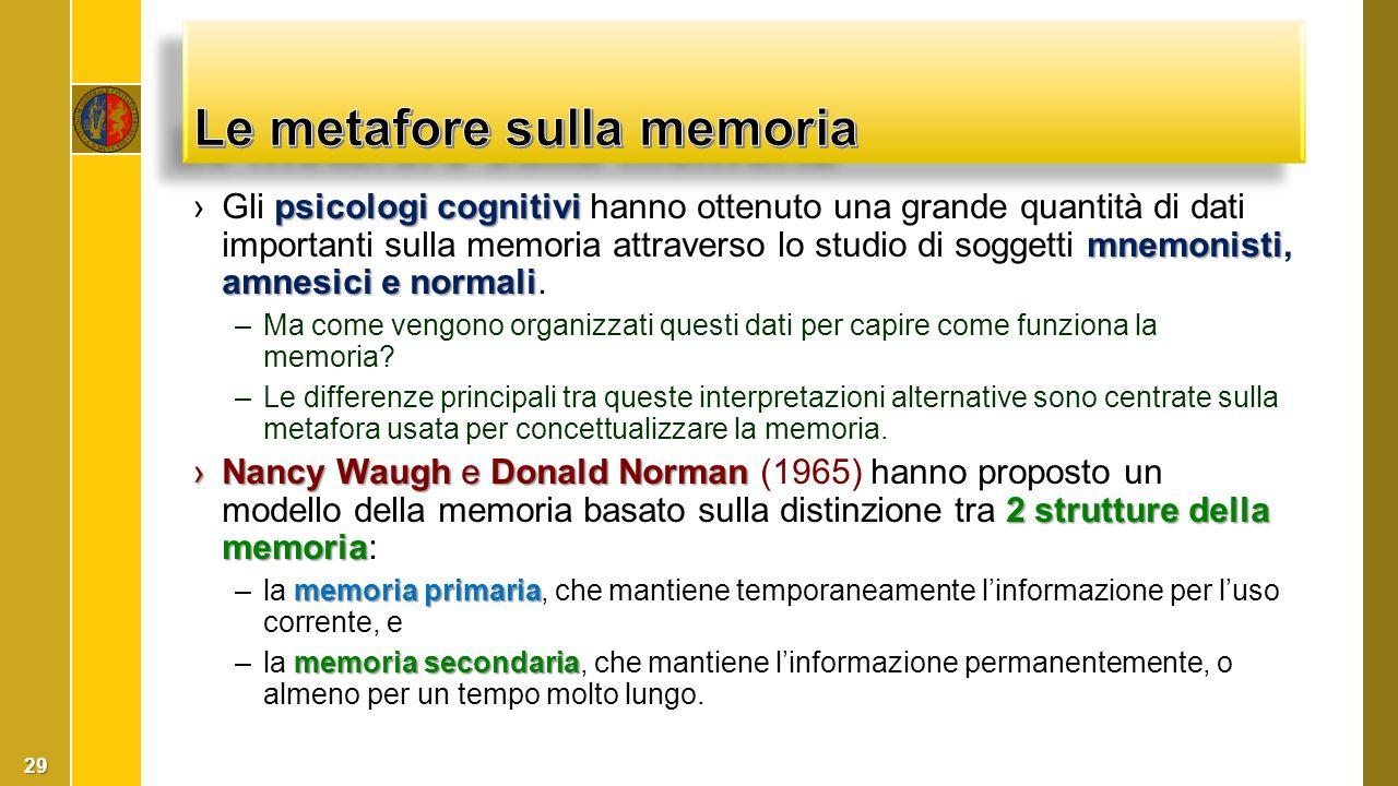 psicologi cognitivi mnemonisti amnesici e normali ›Gli psicologi cognitivi hanno ottenuto una grande quantità di dati importanti sulla memoria attrave