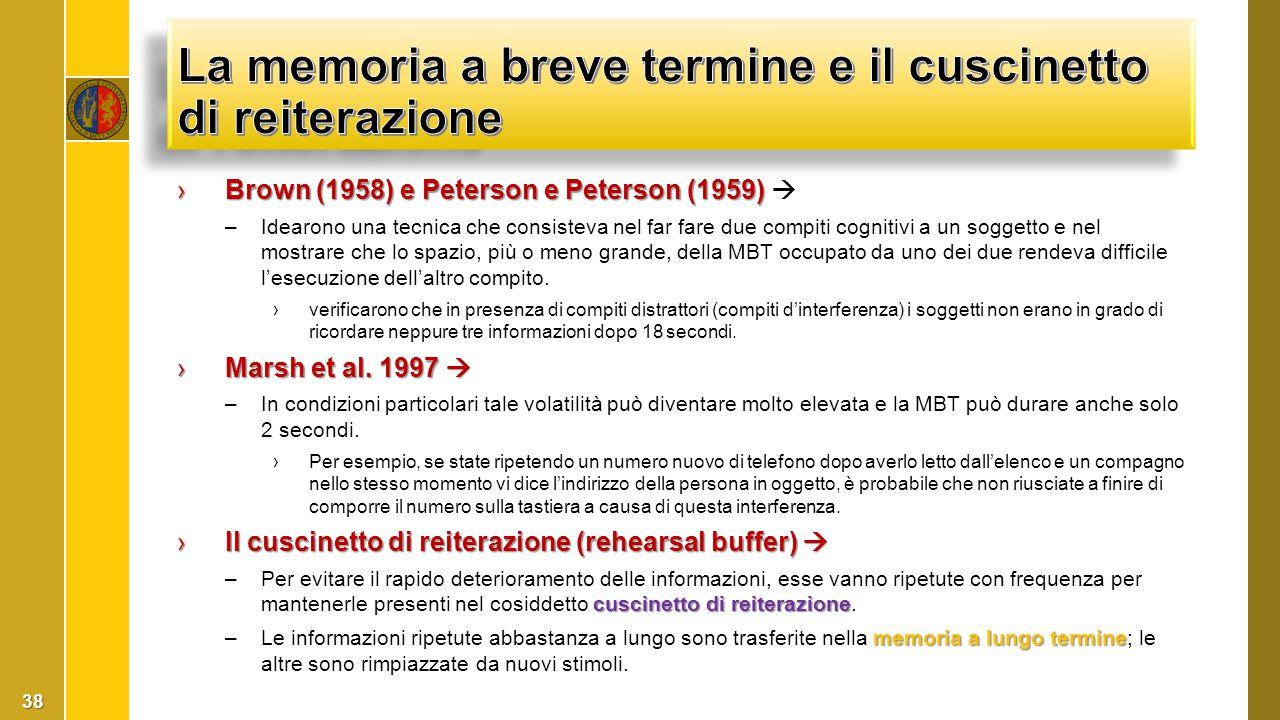 ›Brown (1958) e Peterson e Peterson (1959) ›Brown (1958) e Peterson e Peterson (1959)  –Idearono una tecnica che consisteva nel far fare due compiti
