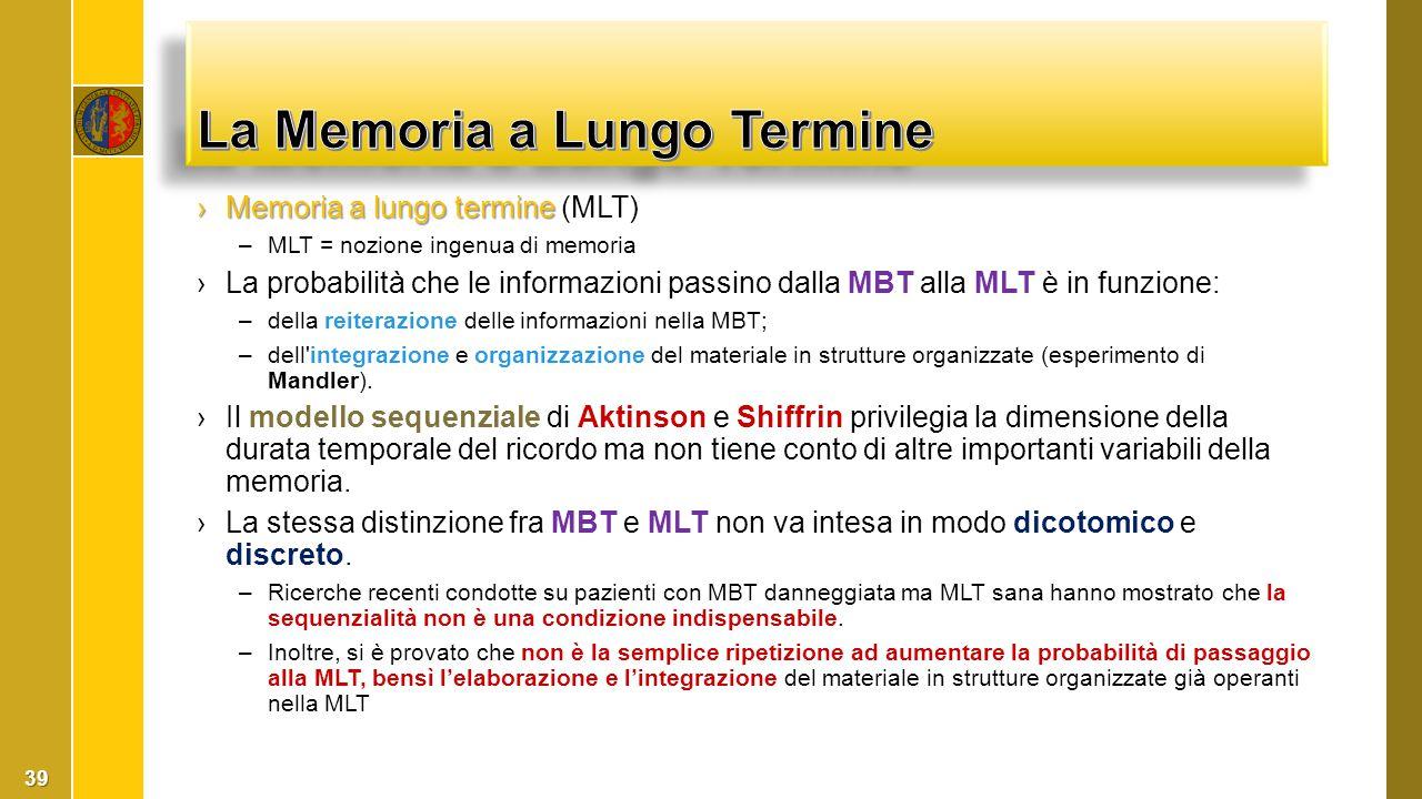›Memoria a lungo termine ›Memoria a lungo termine (MLT) –MLT = nozione ingenua di memoria ›La probabilità che le informazioni passino dalla MBT alla M