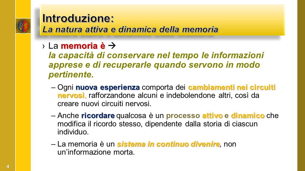 memoriaè ›La memoria è  la capacità di conservare nel tempo le informazioni apprese e di recuperarle quando servono in modo pertinente. nuova esperie