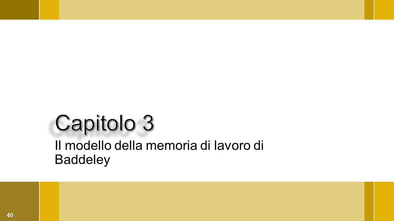 40 Il modello della memoria di lavoro di Baddeley