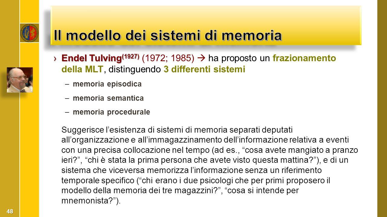 ›Endel Tulving (1927) ›Endel Tulving (1927) (1972; 1985)  ha proposto un frazionamento della MLT, distinguendo 3 differenti sistemi –memoria episodic