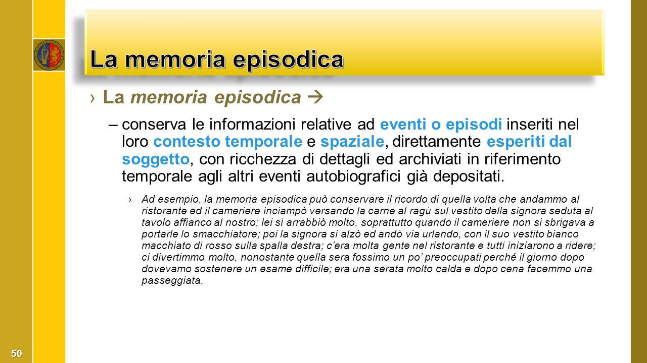 ›La memoria episodica  –conserva le informazioni relative ad eventi o episodi inseriti nel loro contesto temporale e spaziale, direttamente esperiti
