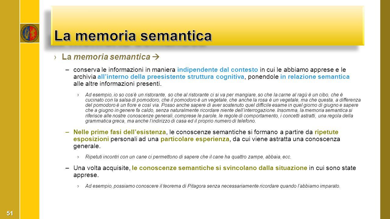 ›La memoria semantica  –conserva le informazioni in maniera indipendente dal contesto in cui le abbiamo apprese e le archivia all'interno della prees