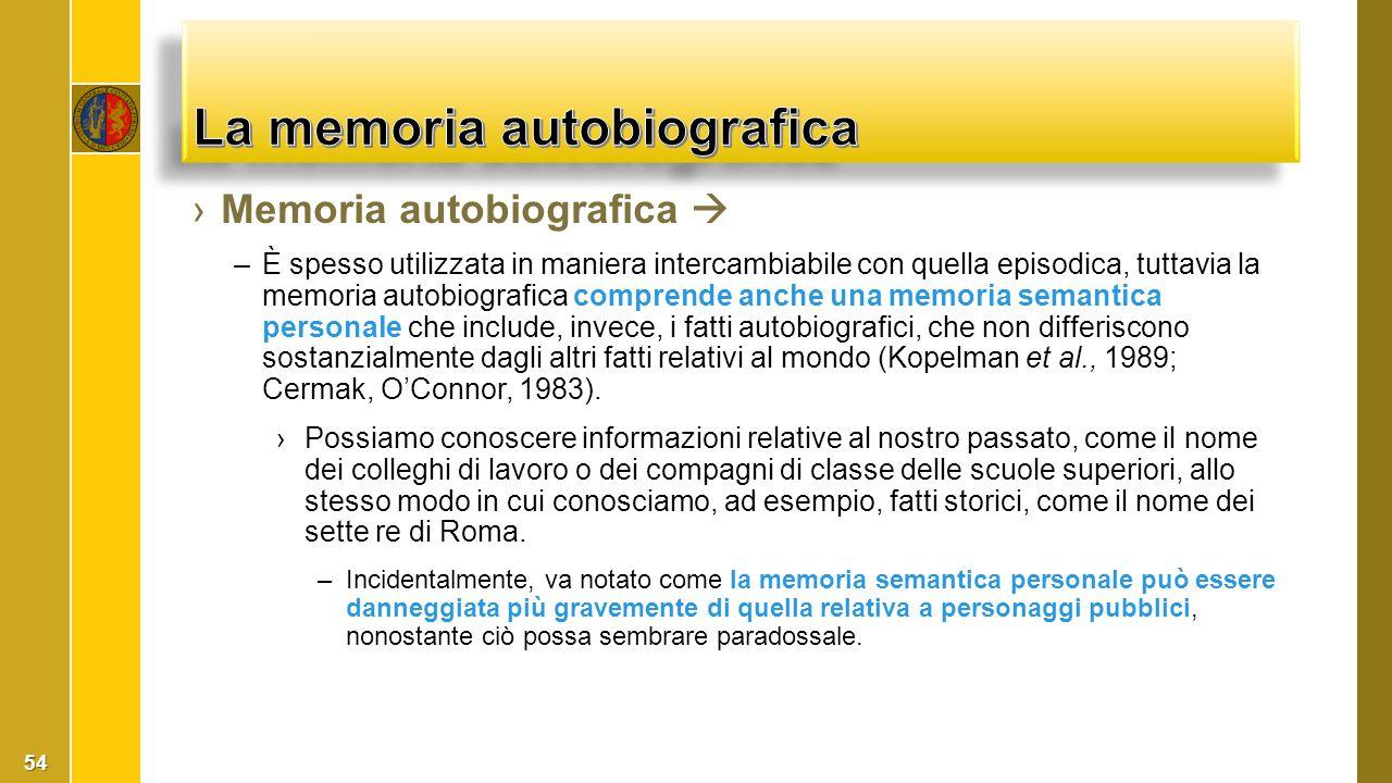 ›Memoria autobiografica  –È spesso utilizzata in maniera intercambiabile con quella episodica, tuttavia la memoria autobiografica comprende anche una