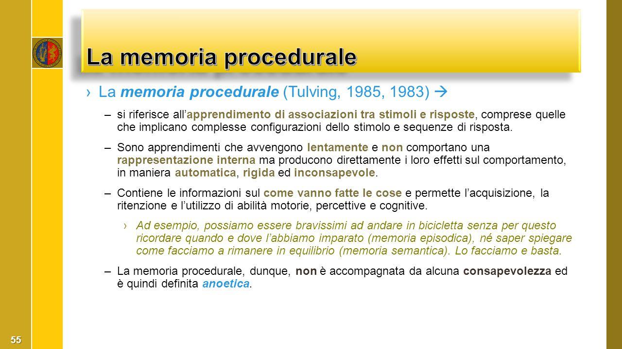 ›La memoria procedurale (Tulving, 1985, 1983)  –si riferisce all'apprendimento di associazioni tra stimoli e risposte, comprese quelle che implicano