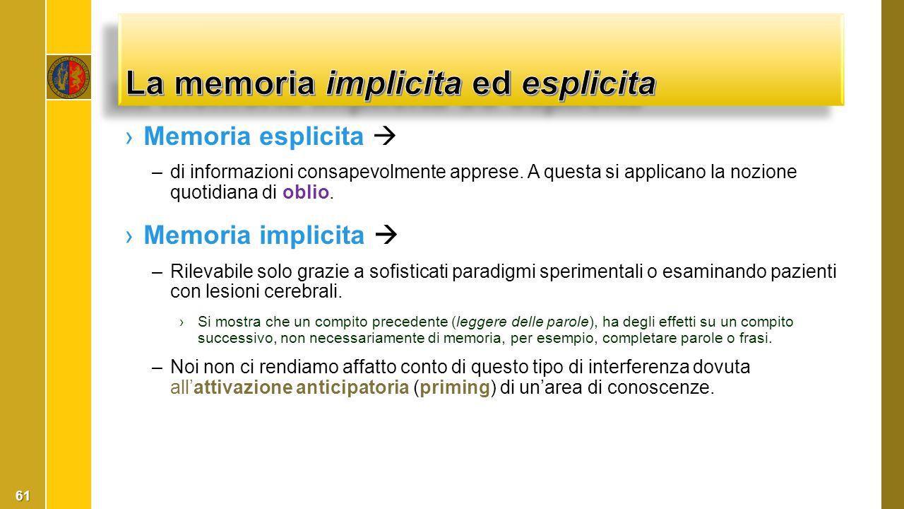 ›Memoria esplicita  –di informazioni consapevolmente apprese. A questa si applicano la nozione quotidiana di oblio. ›Memoria implicita  –Rilevabile