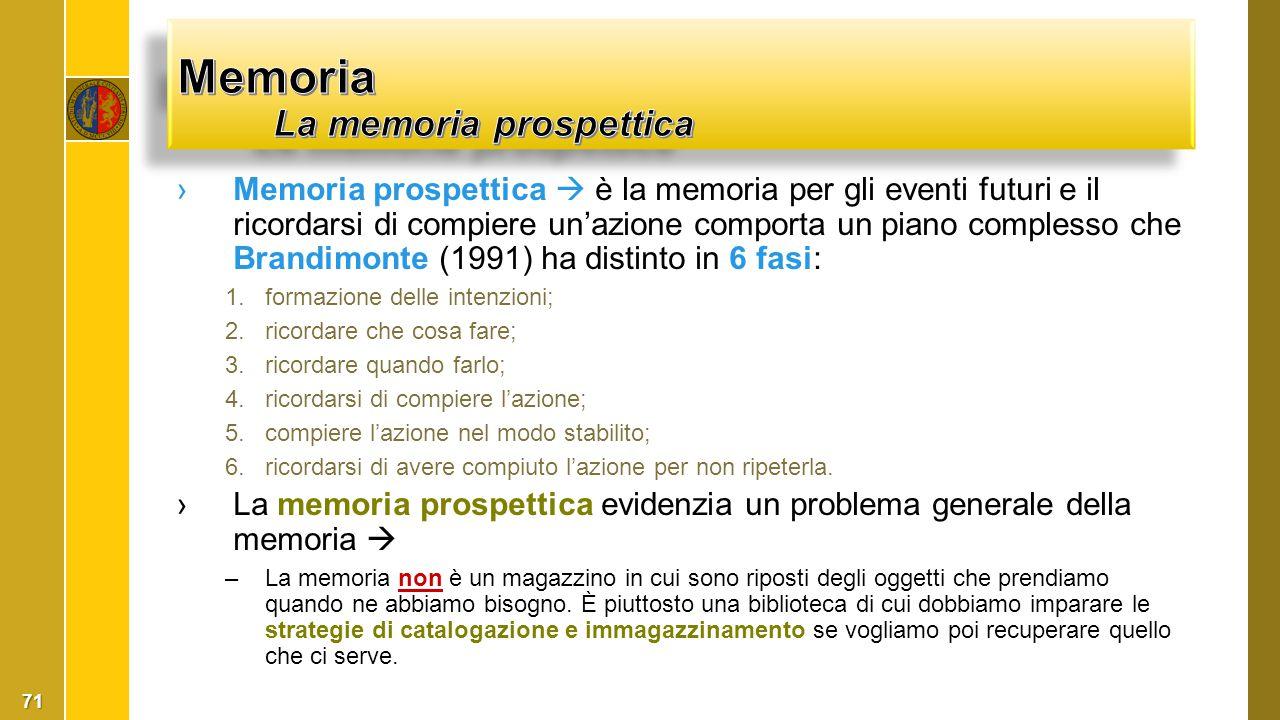 ›Memoria prospettica  è la memoria per gli eventi futuri e il ricordarsi di compiere un'azione comporta un piano complesso che Brandimonte (1991) ha
