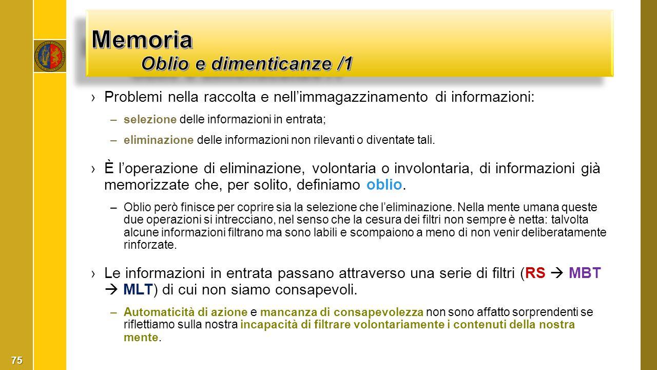 ›Problemi nella raccolta e nell'immagazzinamento di informazioni: –selezione delle informazioni in entrata; –eliminazione delle informazioni non rilev
