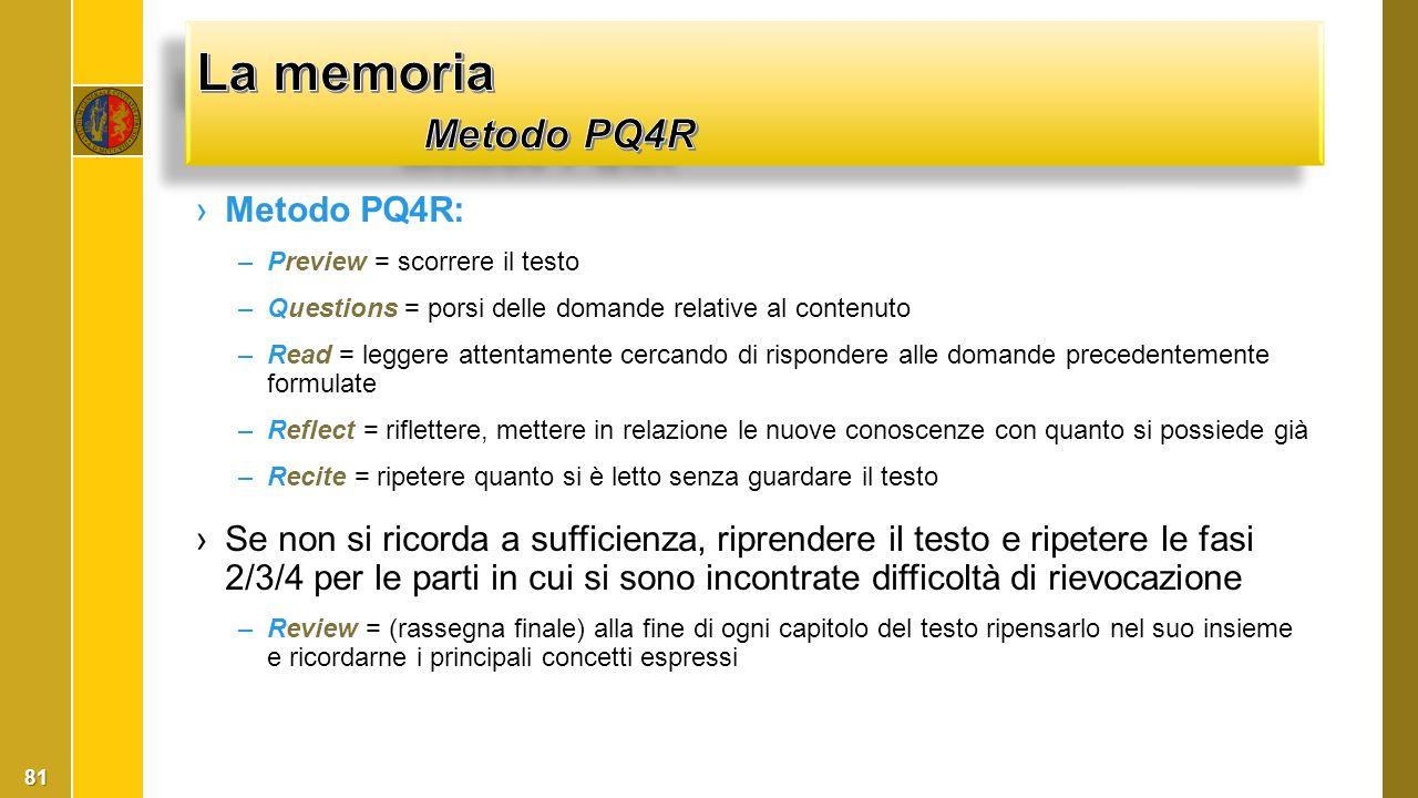 ›Metodo PQ4R: –Preview = scorrere il testo –Questions = porsi delle domande relative al contenuto –Read = leggere attentamente cercando di rispondere