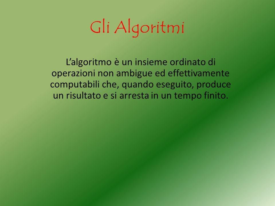 Gli Algoritmi L'algoritmo è un insieme ordinato di operazioni non ambigue ed effettivamente computabili che, quando eseguito, produce un risultato e s