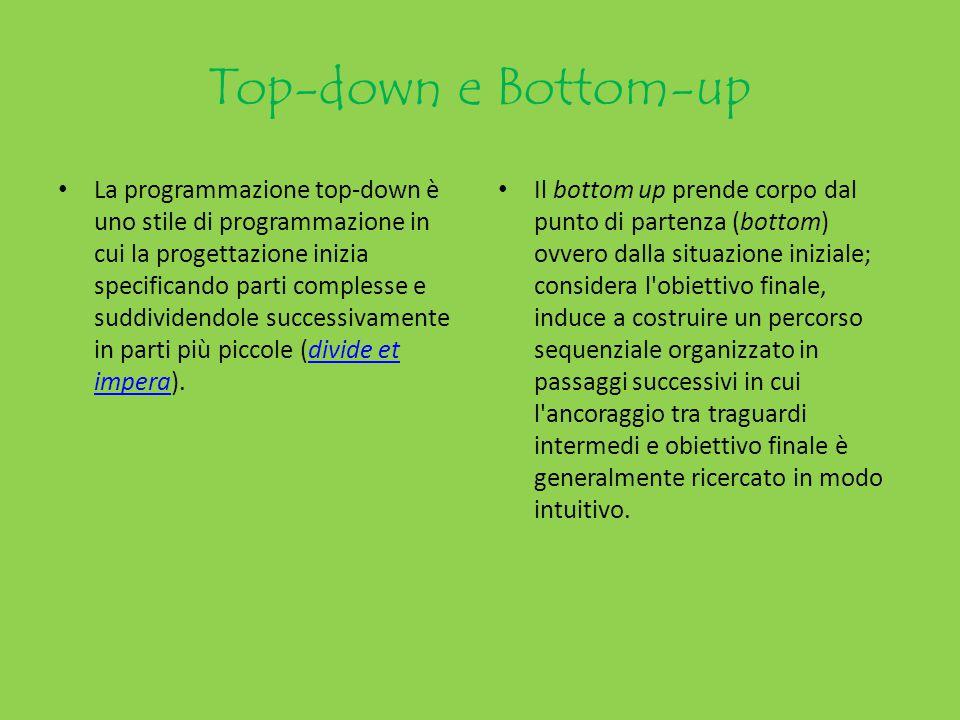 Top-down e Bottom-up La programmazione top-down è uno stile di programmazione in cui la progettazione inizia specificando parti complesse e suddividen