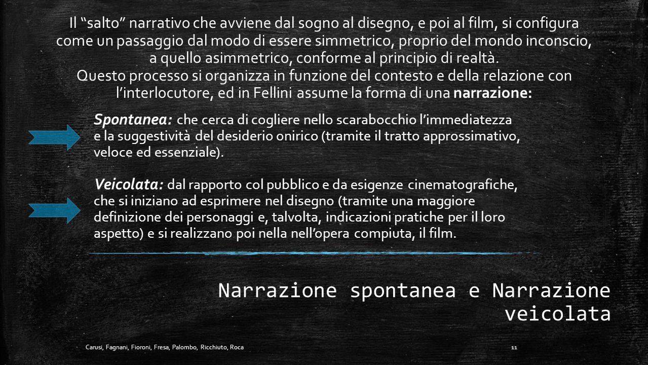 Verità Storica e Verità Narrativa Nei film di Fellini manca più che mai una verità storica, sono tutti caratterizzati dall'evanescenza del ricordo a v