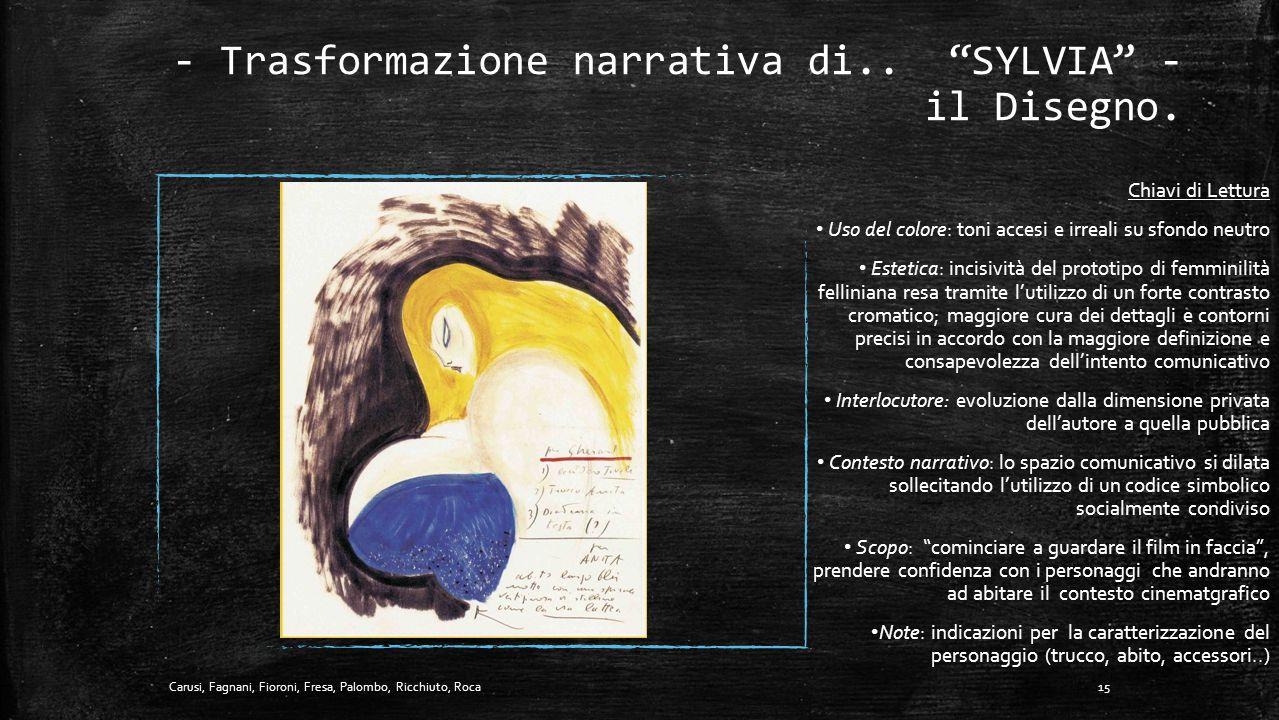 """- Trasformazione narrativa di.. """"SYLVIA"""" - lo Scarabocchio. 14Carusi, Fagnani, Fioroni, Fresa, Palombo, Ricchiuto, Roca Chiavi di Lettura Uso del colo"""