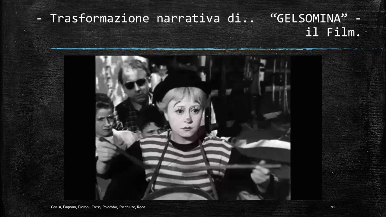 """- Trasformazione narrativa di.. """"GELSOMINA"""" - il Fotogramma. Chiavi di Lettura Uso del colore: sfumature di grigio. Estetica: trucco che annulla l'imm"""