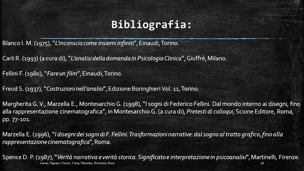 """CONCLUSIONI... 27Carusi, Fagnani, Fioroni, Fresa, Palombo, Ricchiuto, Roca """"Un film, per me, è veramente qualcosa di assai vicino ad un sogno: amico m"""