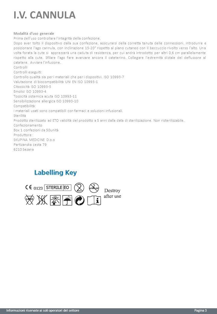 I.V. CANNULA Informazioni riservate ai soli operatori del settore Pagina 3 Modalità d'uso generale Prima dell'uso controllare l'integrità della confez