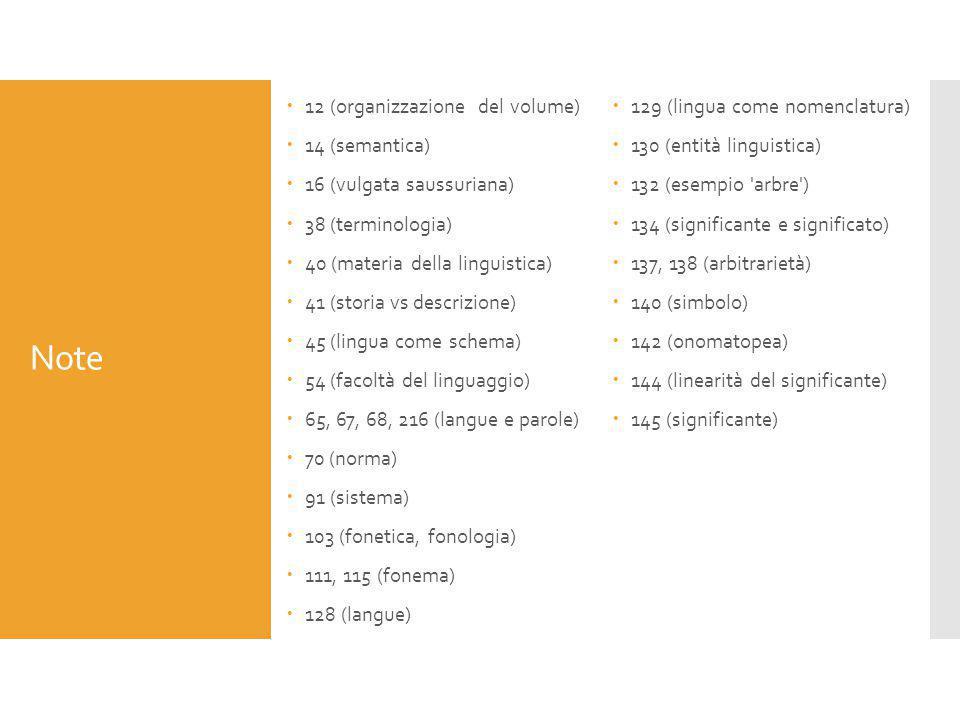 Note  12 (organizzazione del volume)  14 (semantica)  16 (vulgata saussuriana)  38 (terminologia)  40 (materia della linguistica)  41 (storia vs
