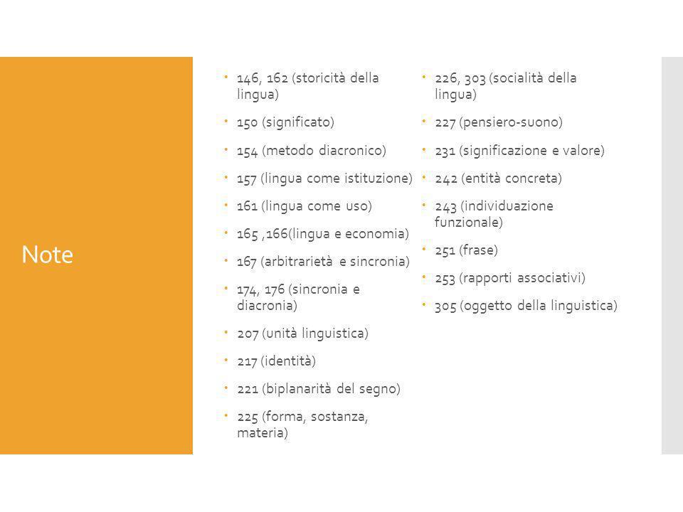Note  146, 162 (storicità della lingua)  150 (significato)  154 (metodo diacronico)  157 (lingua come istituzione)  161 (lingua come uso)  165,1
