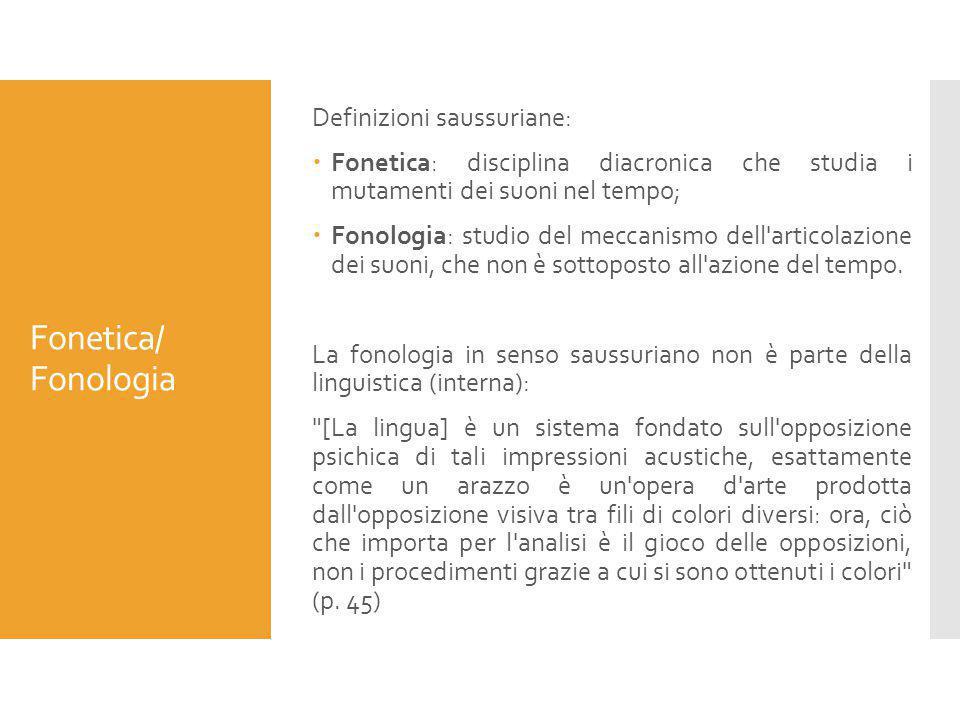 Fonetica/ Fonologia Definizioni saussuriane:  Fonetica: disciplina diacronica che studia i mutamenti dei suoni nel tempo;  Fonologia: studio del mec