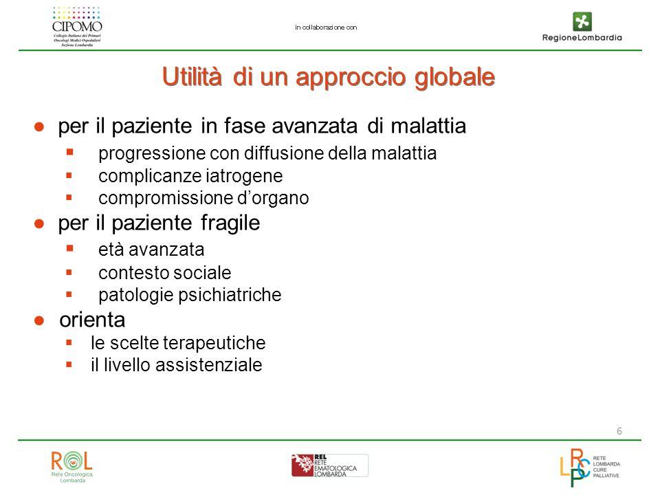 6 Utilità di un approccio globale ●per il paziente in fase avanzata di malattia  progressione con diffusione della malattia  complicanze iatrogene 