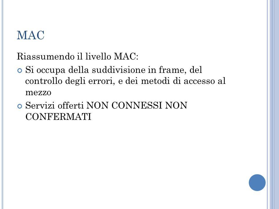 MAC Riassumendo il livello MAC: Si occupa della suddivisione in frame, del controllo degli errori, e dei metodi di accesso al mezzo Servizi offerti NON CONNESSI NON CONFERMATI