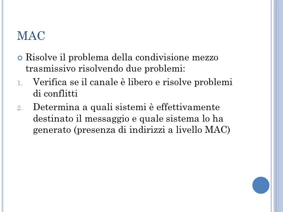 MAC Risolve il problema della condivisione mezzo trasmissivo risolvendo due problemi: 1. Verifica se il canale è libero e risolve problemi di conflitt