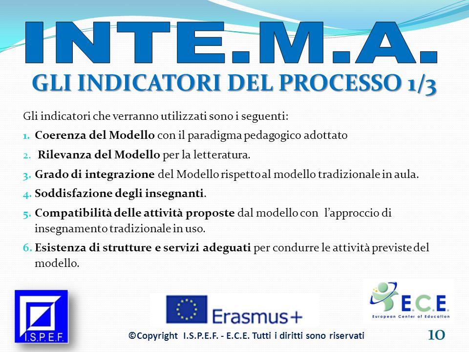 GLI INDICATORI DEL PROCESSO 1/3 Gli indicatori che verranno utilizzati sono i seguenti: 1.