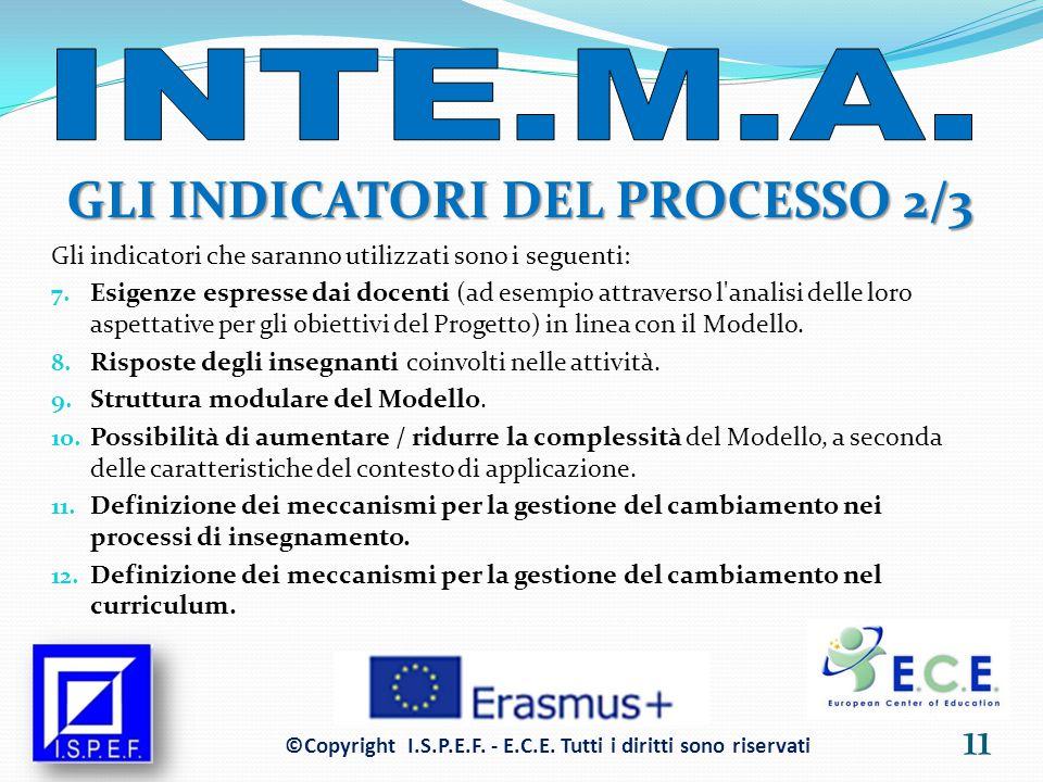 GLI INDICATORI DEL PROCESSO 2/3 Gli indicatori che saranno utilizzati sono i seguenti: 7.