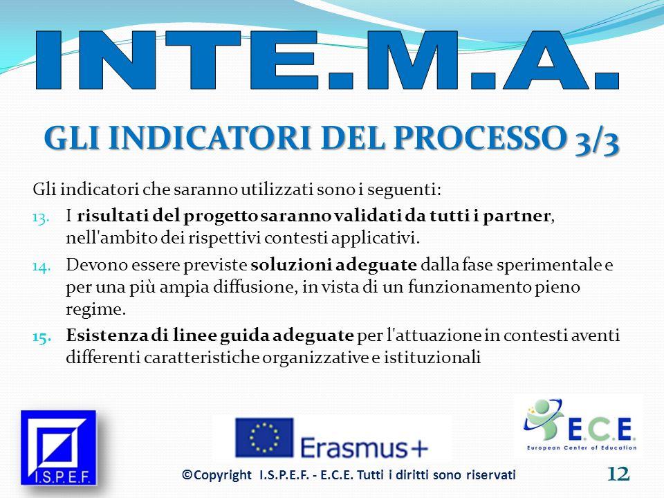 GLI INDICATORI DEL PROCESSO 3/3 Gli indicatori che saranno utilizzati sono i seguenti: 13.