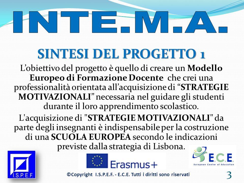SINTESI DEL PROGETTO 1 L'obiettivo del progetto è quello di creare un Modello Europeo di Formazione Docente che crei una professionalità orientata all'acquisizione di STRATEGIE MOTIVAZIONALI necessaria nel guidare gli studenti durante il loro apprendimento scolastico.