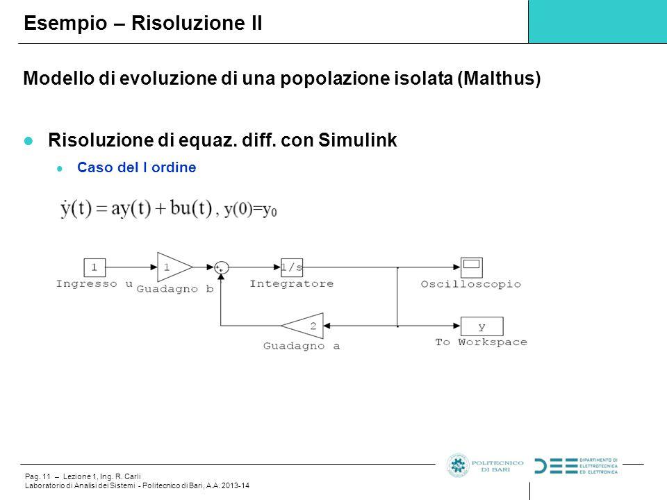 Pag. 11 – Lezione 1, Ing. R. Carli Laboratorio di Analisi dei Sistemi - Politecnico di Bari, A.A. 2013-14 Modello di evoluzione di una popolazione iso