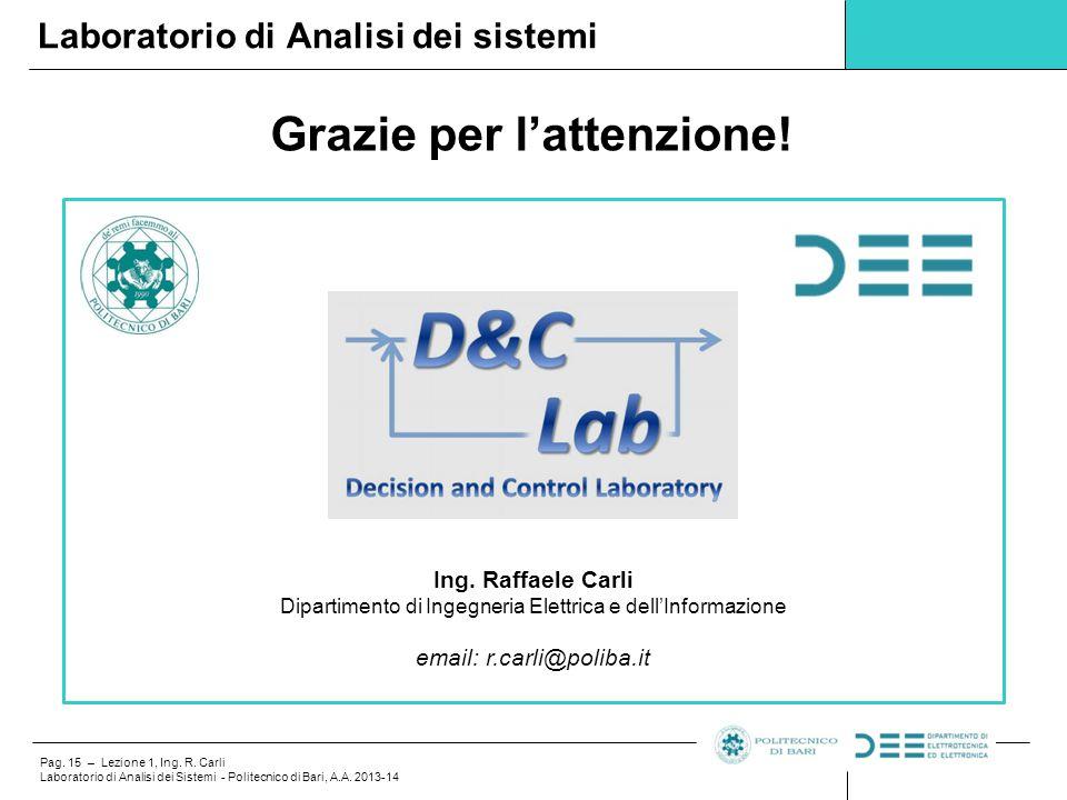 Pag. 15 – Lezione 1, Ing. R. Carli Laboratorio di Analisi dei Sistemi - Politecnico di Bari, A.A. 2013-14 Grazie per l'attenzione! Laboratorio di Anal