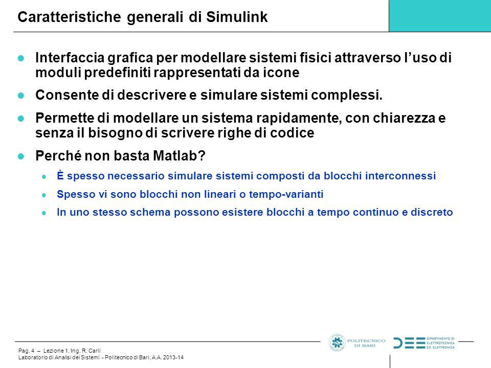 Pag. 4 – Lezione 1, Ing. R. Carli Laboratorio di Analisi dei Sistemi - Politecnico di Bari, A.A. 2013-14 Interfaccia grafica per modellare sistemi fis