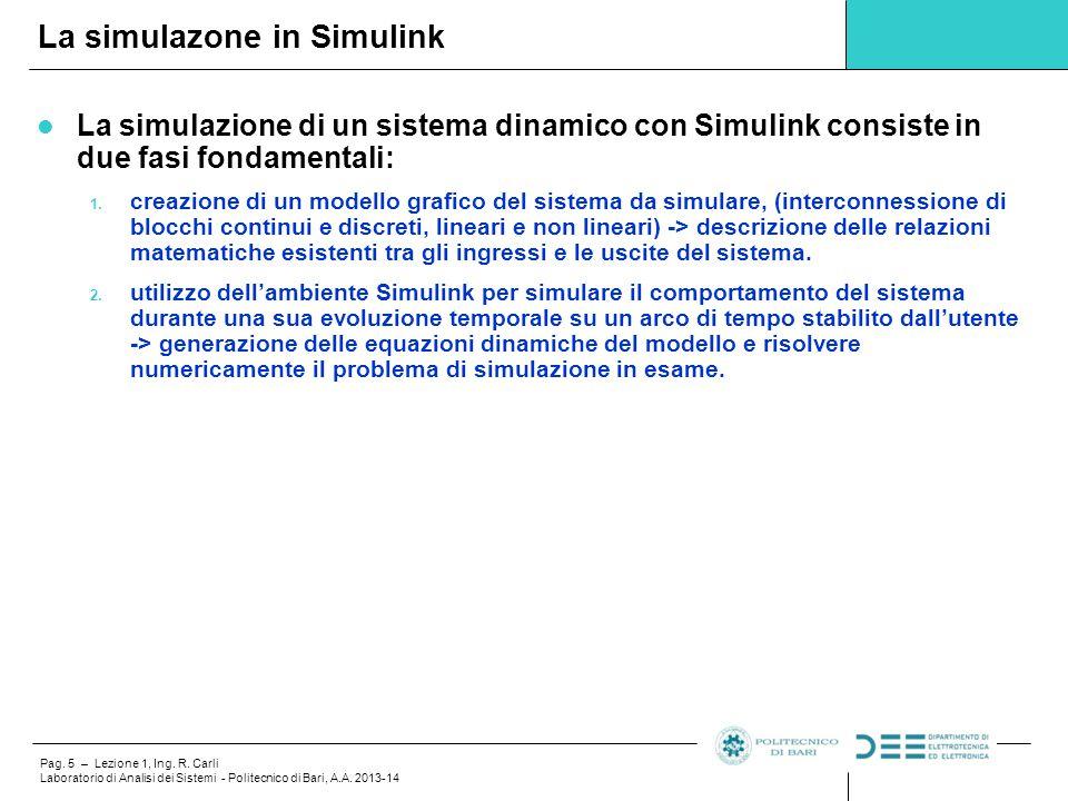 Pag. 5 – Lezione 1, Ing. R. Carli Laboratorio di Analisi dei Sistemi - Politecnico di Bari, A.A. 2013-14 La simulazione di un sistema dinamico con Sim